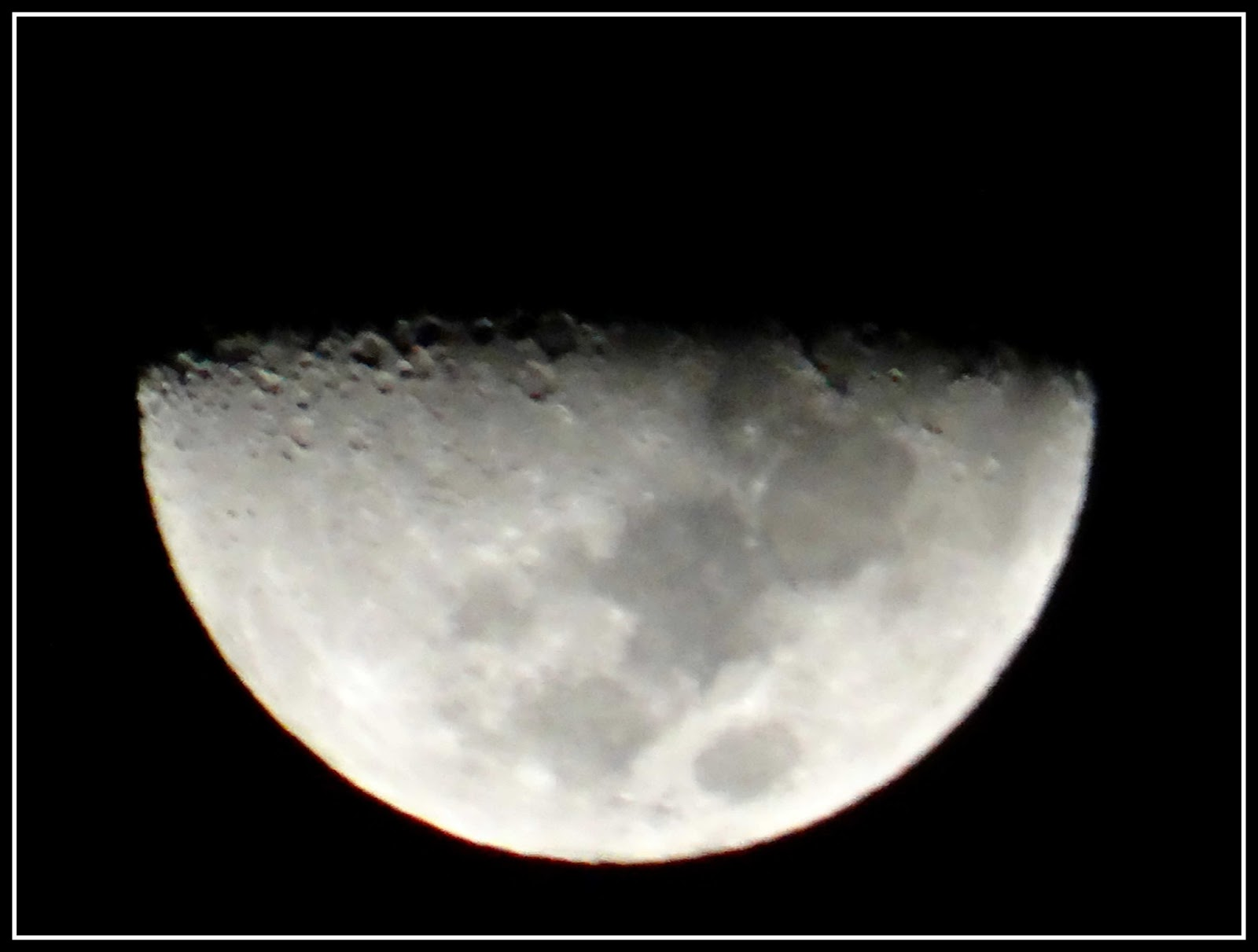 Beautiful half moon at night close up photography