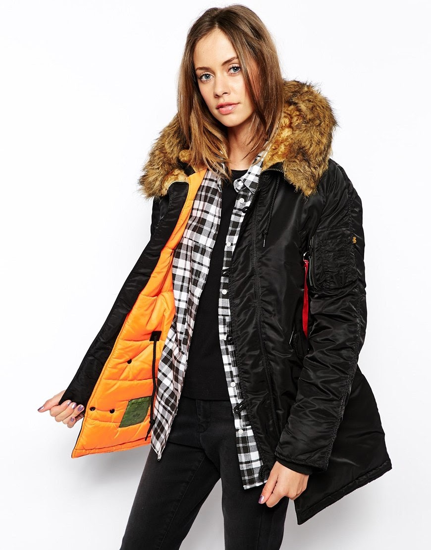 alpha black parka