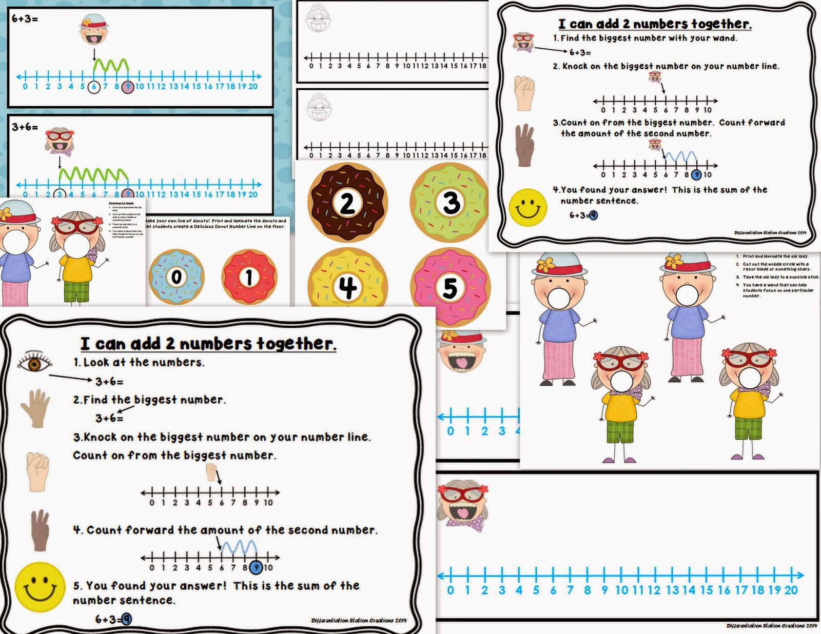 http://www.teacherspayteachers.com/Product/Delicious-Donuts-Addition-to-20-Number-Lines-Missing-Addends-Printables-1154026