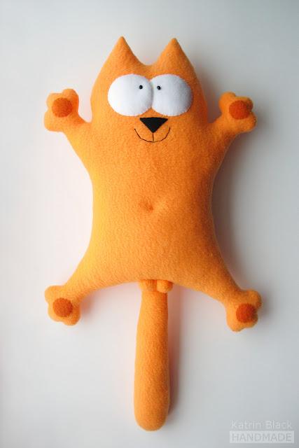 Кот Саймон рыжий - игрушка из флиса ручной работы от Katrin Black