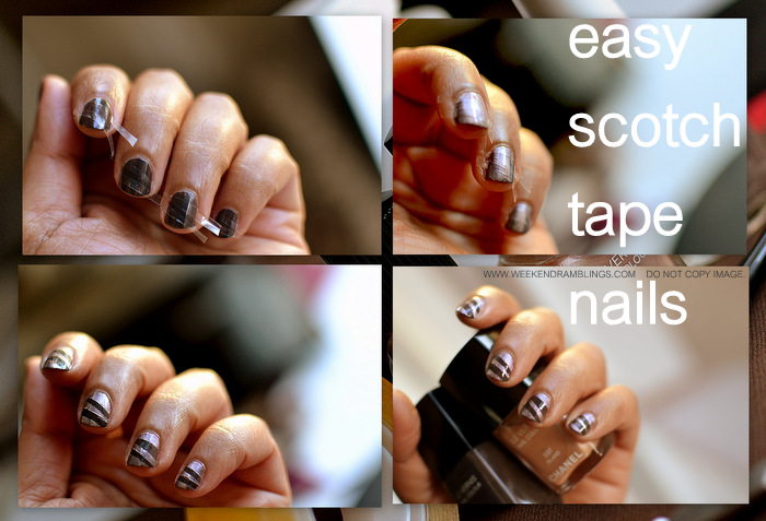 How to Do Scotch Tape Nail Art in 4 Easy Steps Tutorial Indian Beauty Makeup Polish Blog