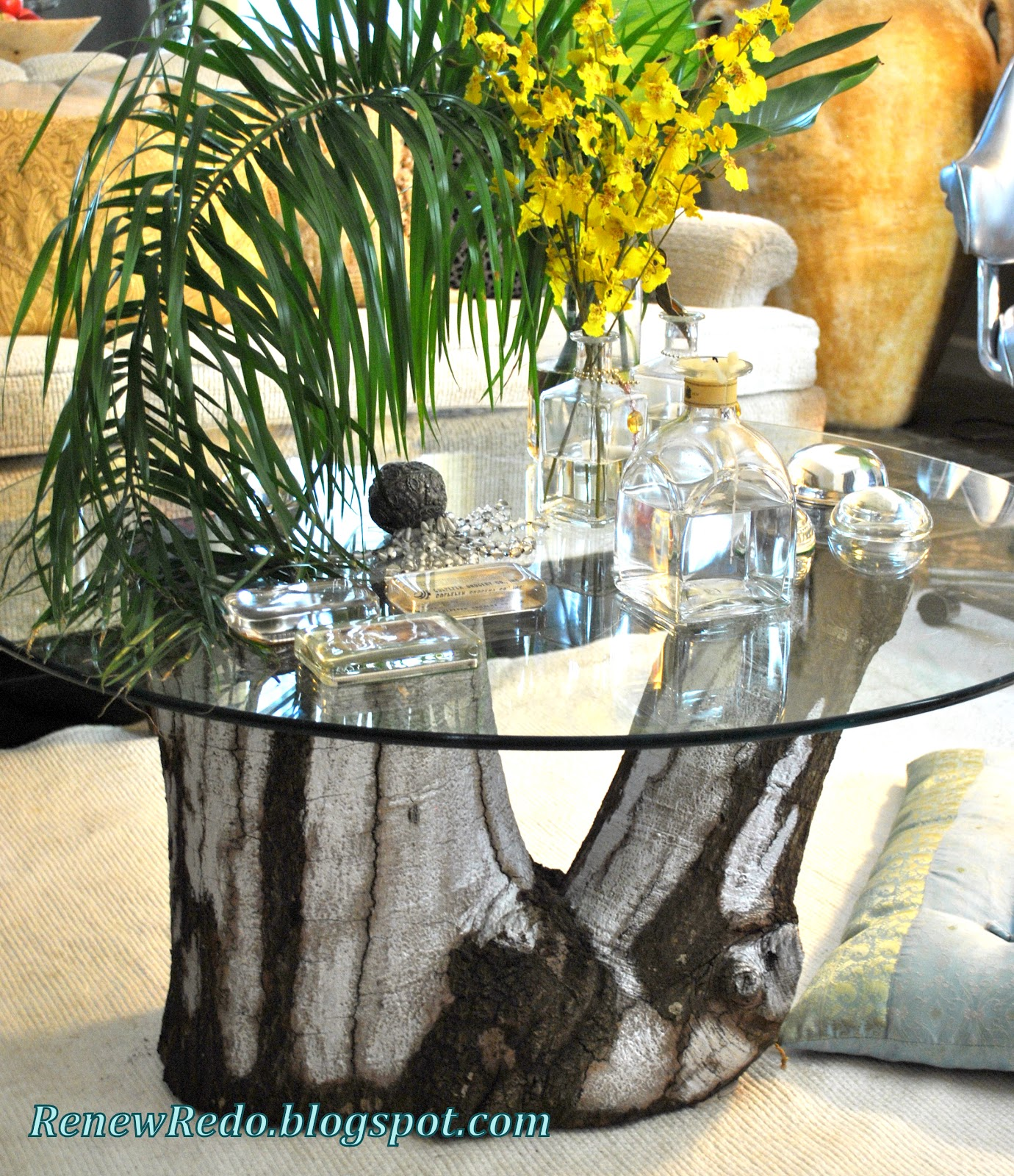 Large Tree Stump Coffee Table: ReNew ReDo!: Living Room Update