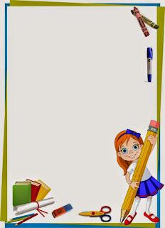 Caratula para cuadernos de niñas de kinder - Niña con Lápiz