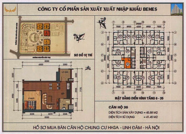 sơ đồ thiết kế mặt bằng chung cư hh3 linh đàm