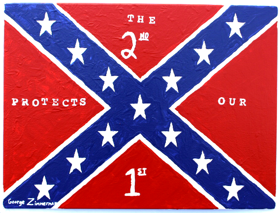 George Zimmerman Confederate Flag painting 2nd Amendment