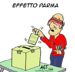 Effetto Parma, PD, M5S, elezioni, satira vignetta