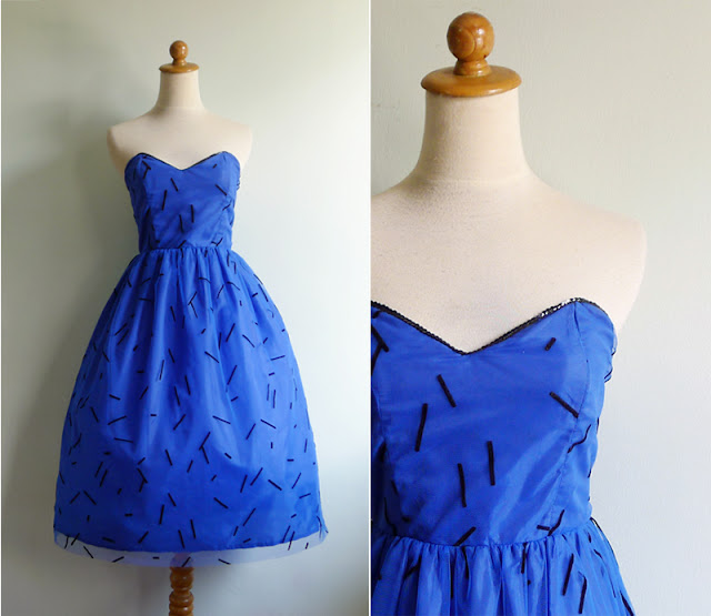 vintage 80's confetti tulle dress