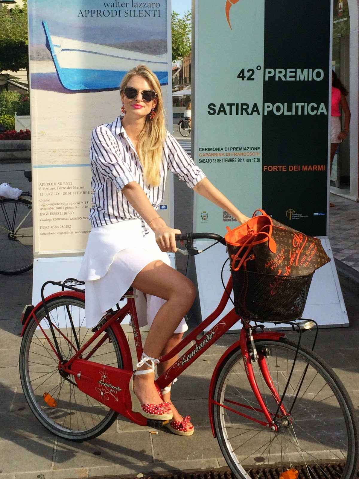 miu miu sunglasses, bicycle, tommy hilfiger shoes, espadrilles, white skirt, hm trend skirt, striped shirt, louis vuitton, louis vuitton neverful