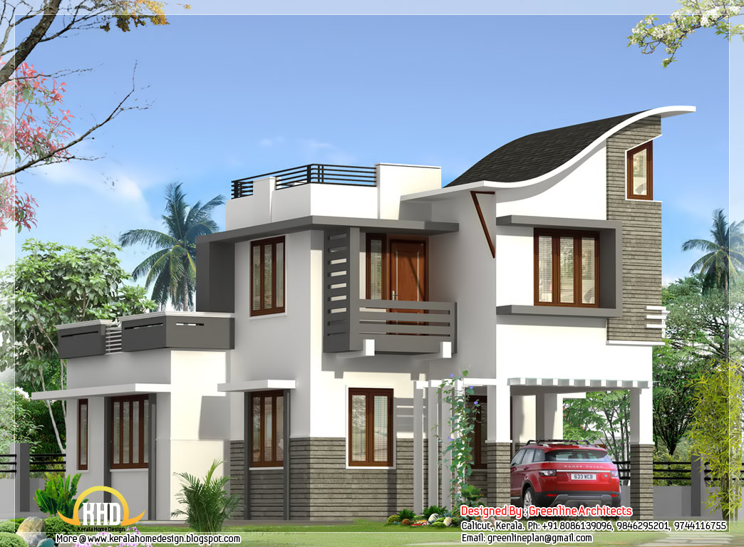Contemporary indian style villa 1900 kerala home for Villa design plan india