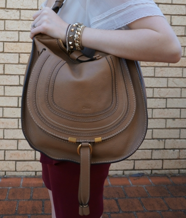 Away From Blue: Sheer Top, Burgundy Peplum Skirt, Chloe Marcie Bag ...