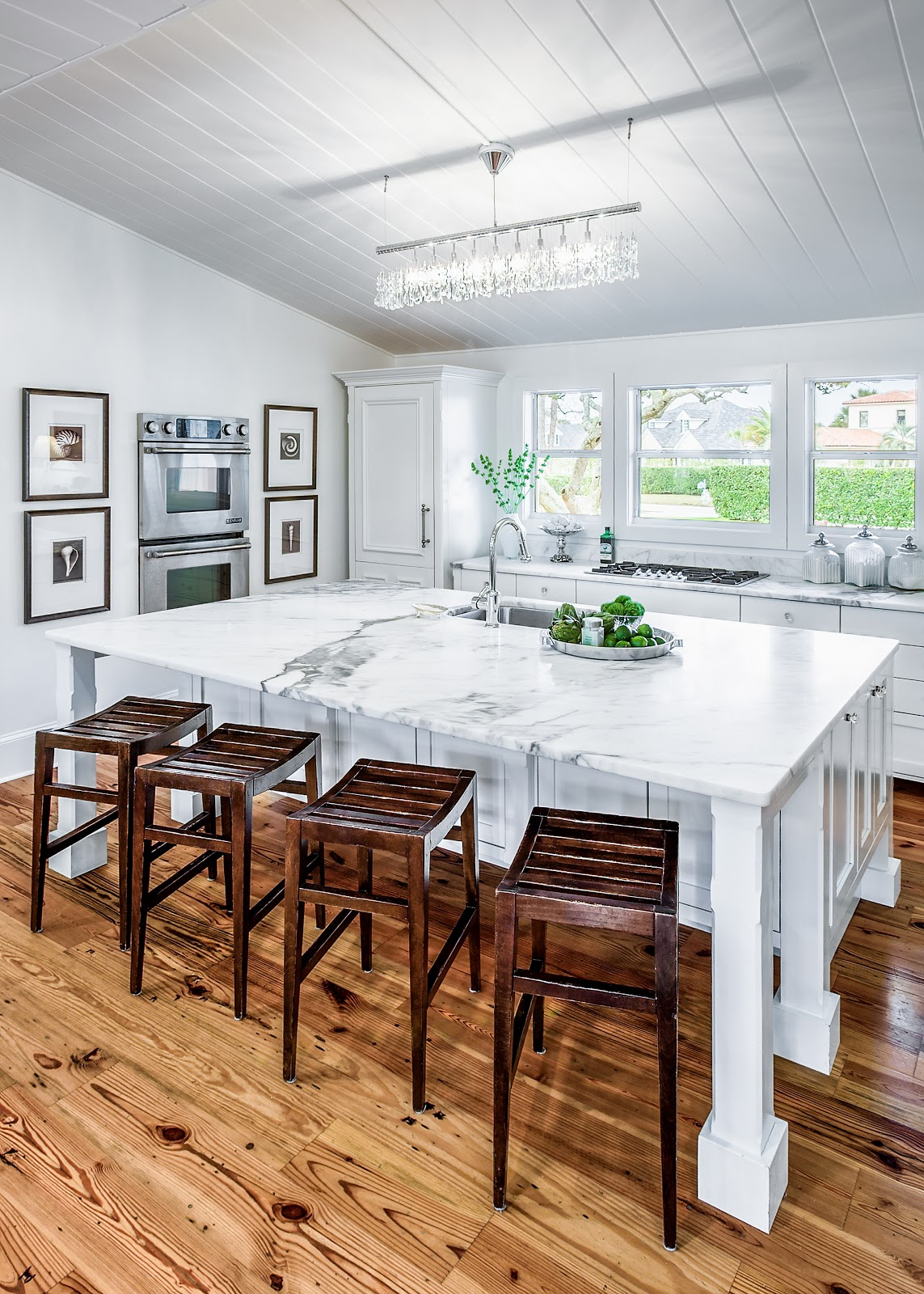 Contemporary Light Fixture Complete This Coastal Contemporary Kitchen.