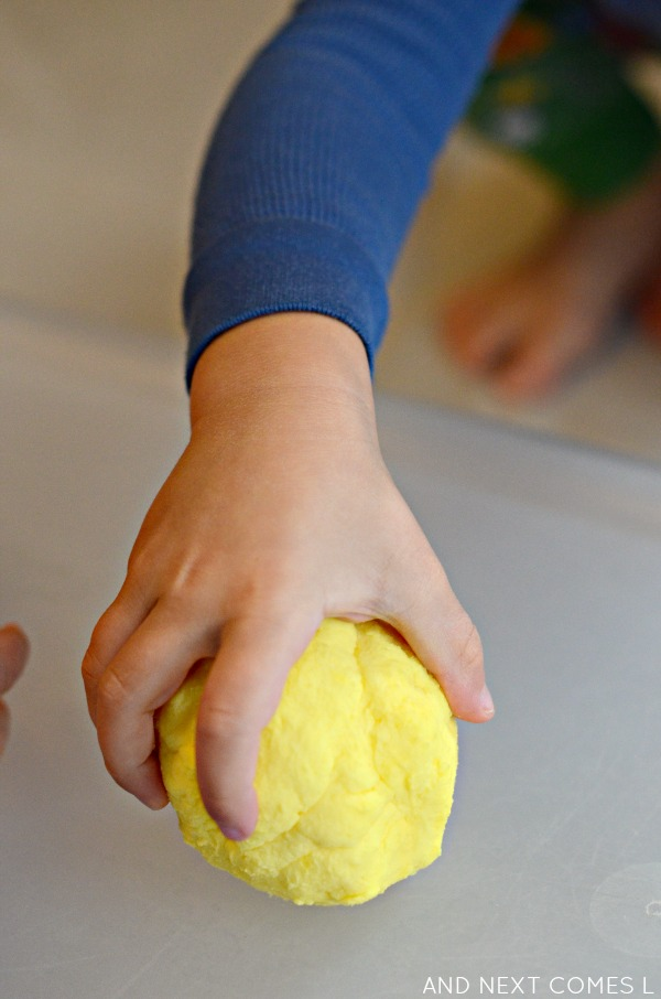 Sensory play for toddlers and preschoolers with citrus scented easy dough from And Next Comes L