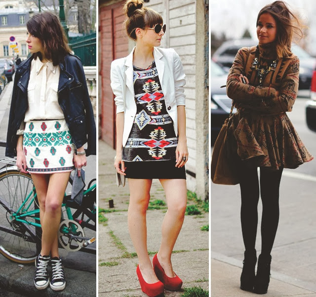 3 looks femininos chiques com saias em estampa étnica