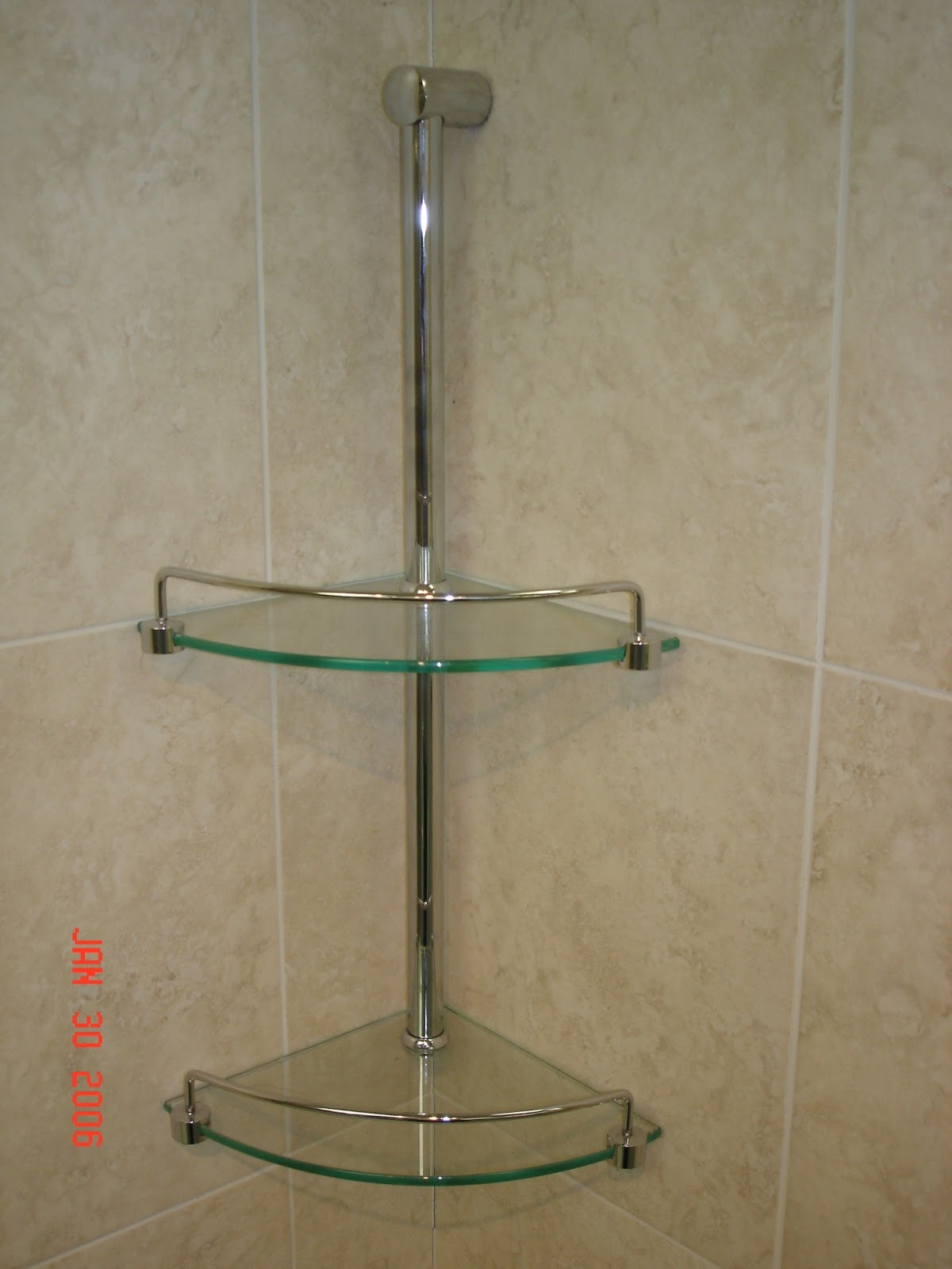 Double corner glass shelves giovani shower doors - Bathroom glass corner shelves shower ...