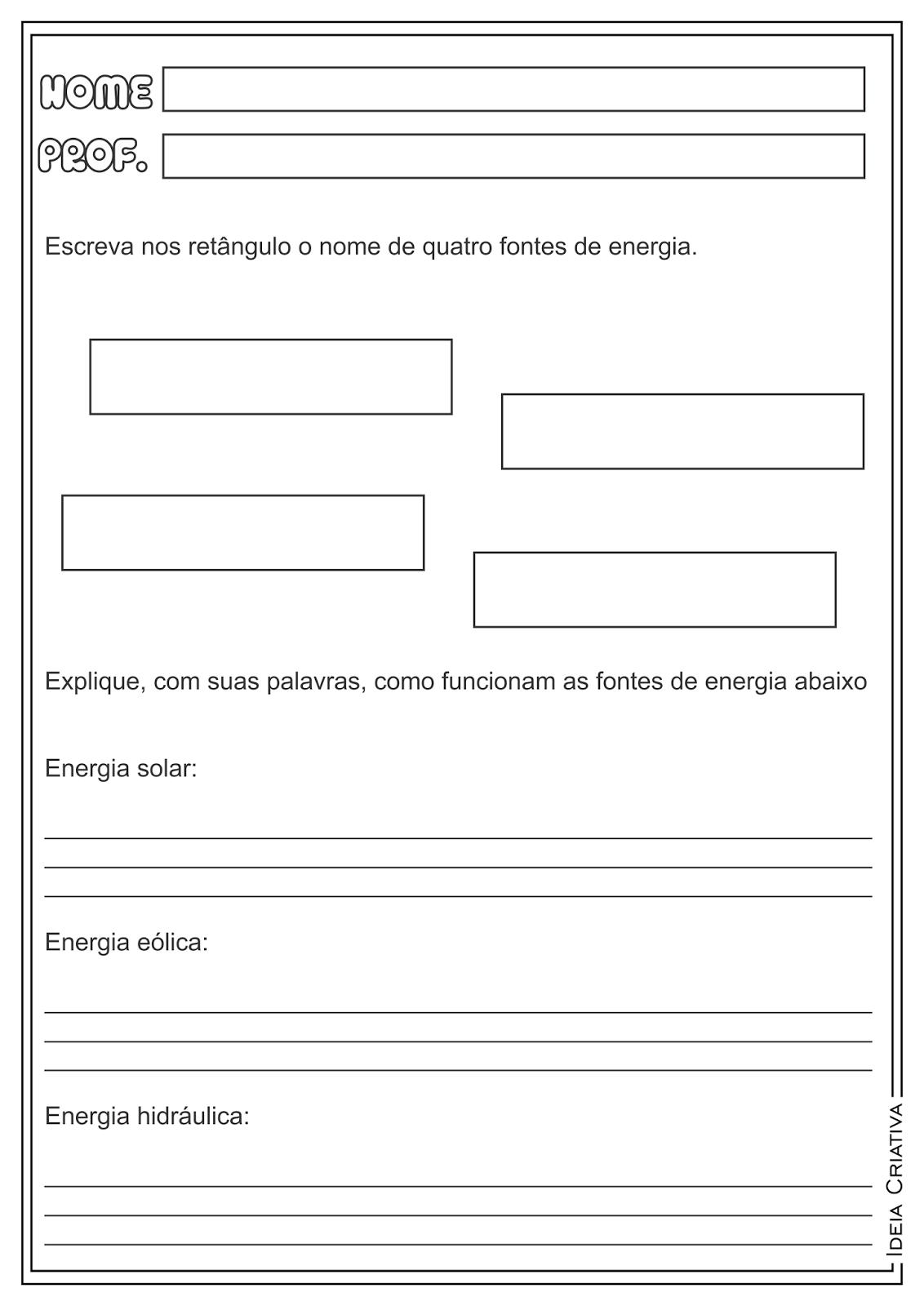 Atividades Educativas Fontes de Energia Ciências e Geografia para Ensino Fundamental