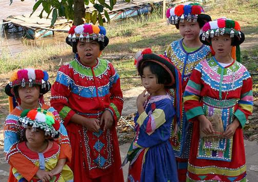 Thai kids in colorful local dress