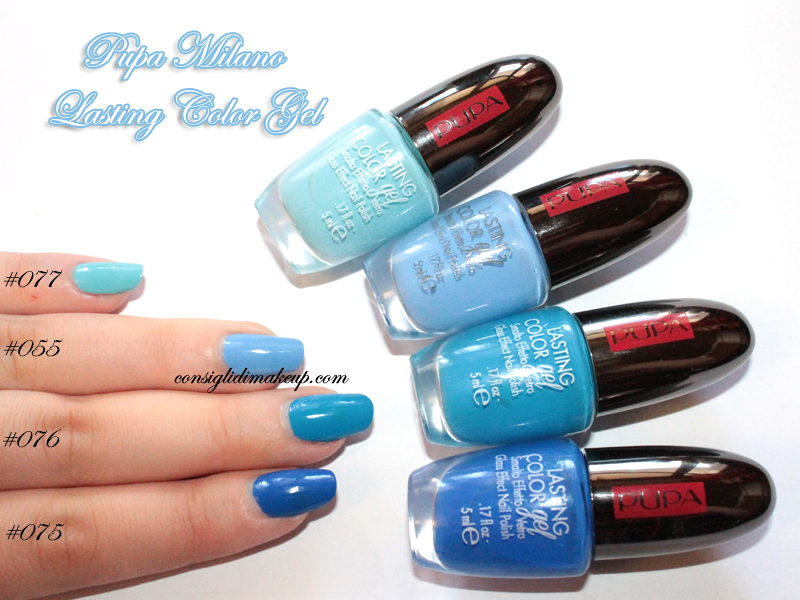 NOTD: Addicted to Blue, Lasting Color Gel 055,075,076,077 - Pupa Milano