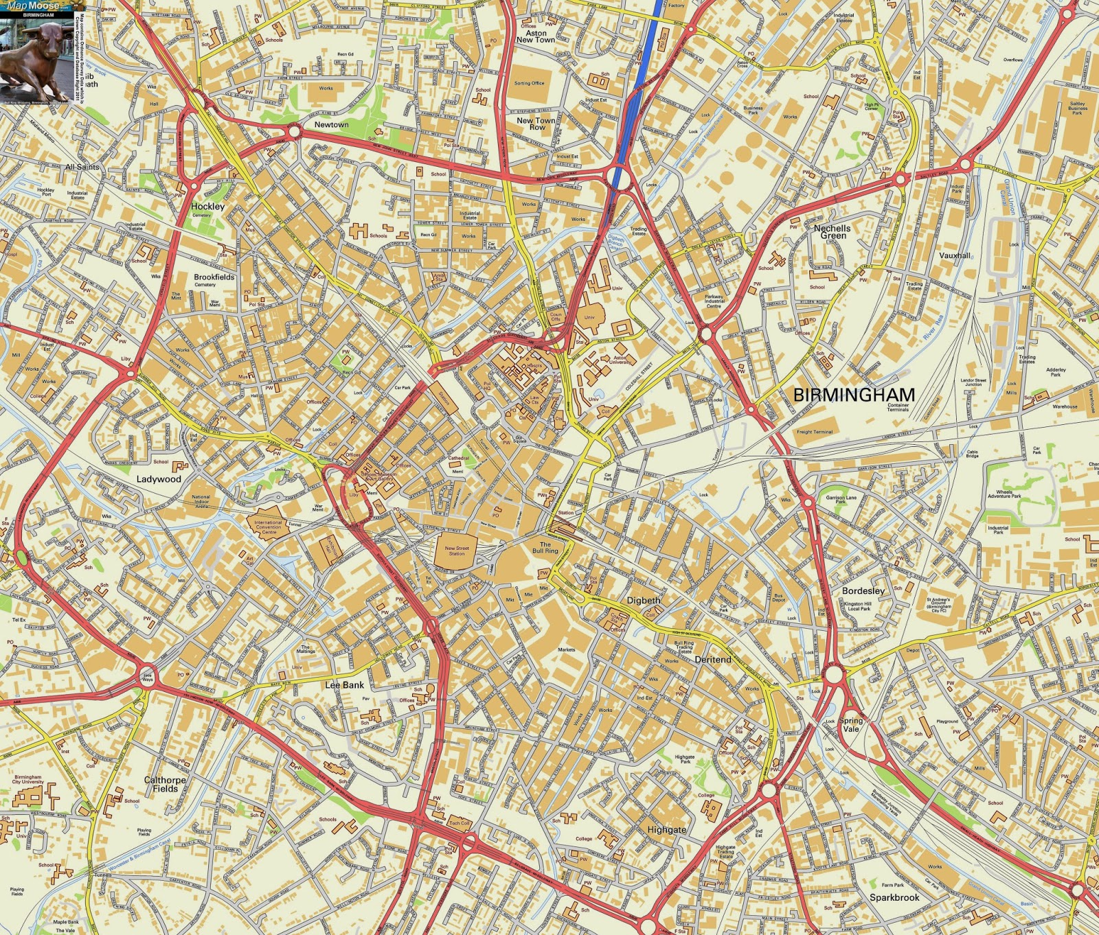 City Map Of Birmingham UK  Free Printable Maps