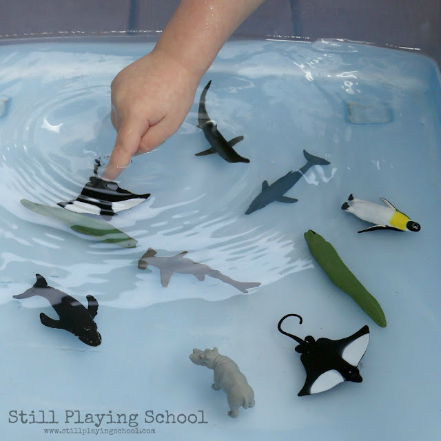 Water Play: Sorting Land and Water Animals Still Playing School