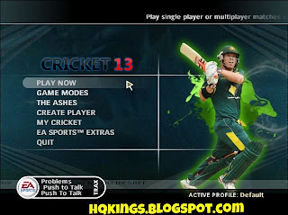 Cricket 13 Menu