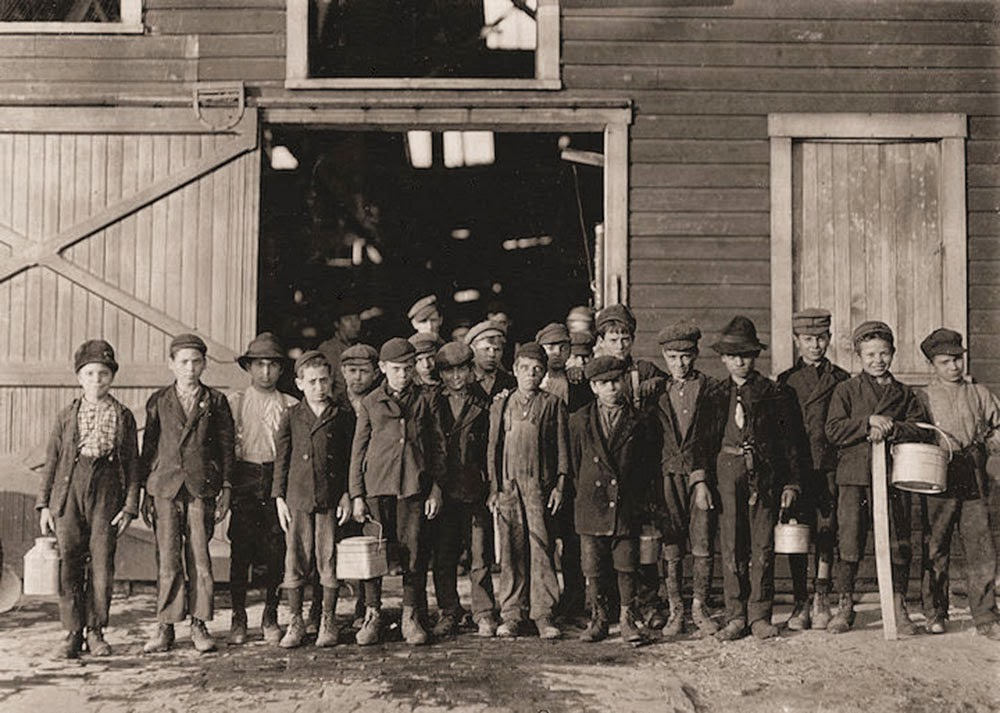 Group Portraits: At 5 p.m., boys going home from Monougal Glass Works. One boy remarked,