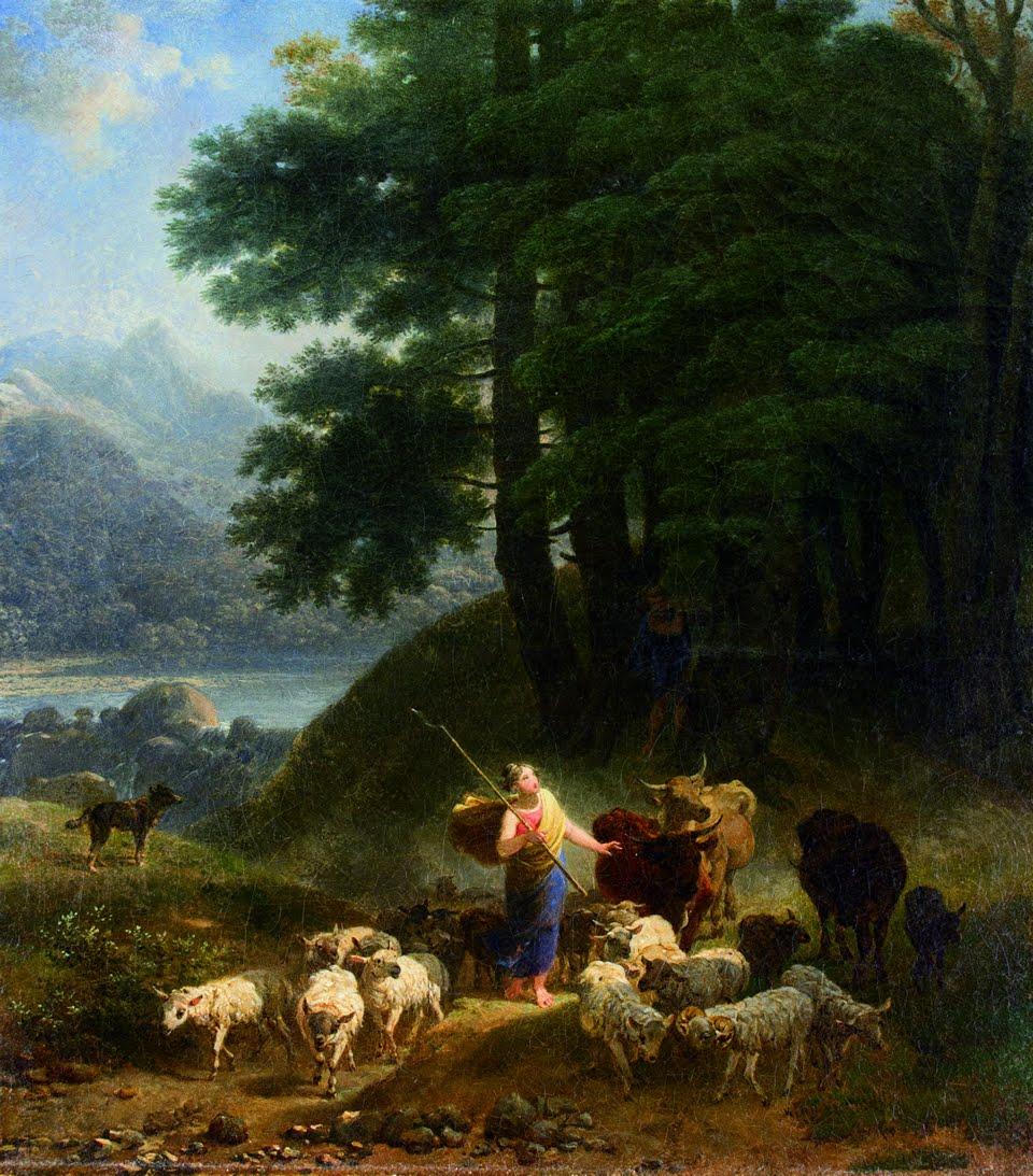 Nicolas Antoine Taunay. 'Pastora'. Óleo sobre tela, 1820. 36 x 32,5 cm.