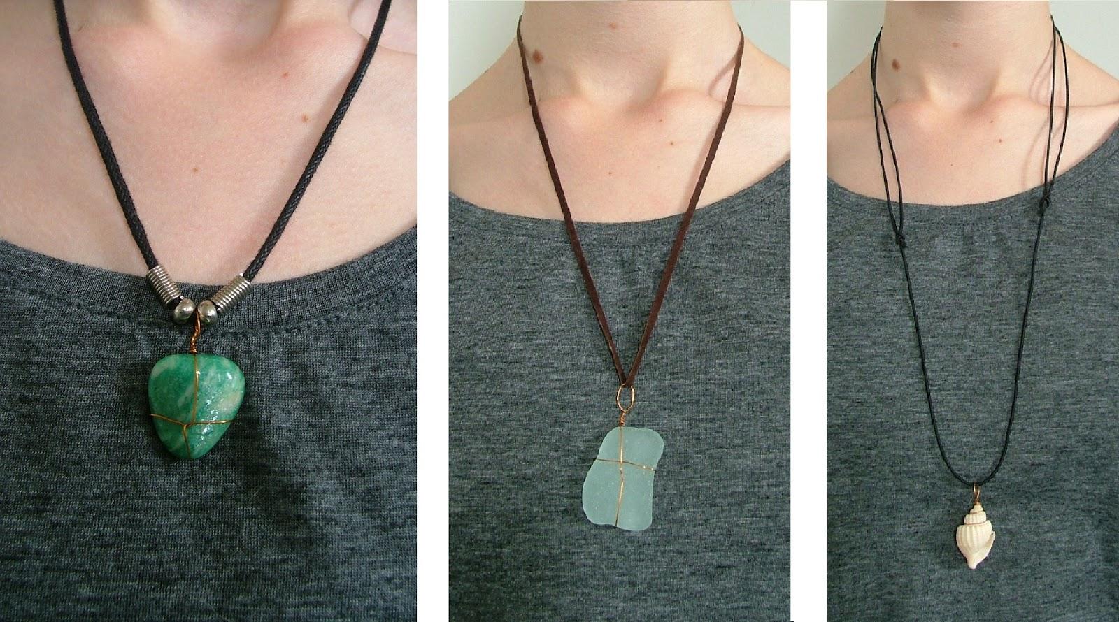 Kooky quirky cute diy wrapped gemstoneseaglassseashell pendants diy wrapped gemstoneseaglassseashell pendants aloadofball Images