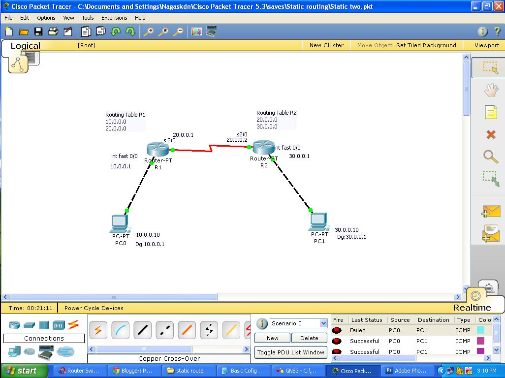 How to configure a simple static routing in packet tracer router by default routers know only directed connected networks here router 1 know only 10000 and 20000 it doesnt know the 30000 like this r2 doesnt greentooth
