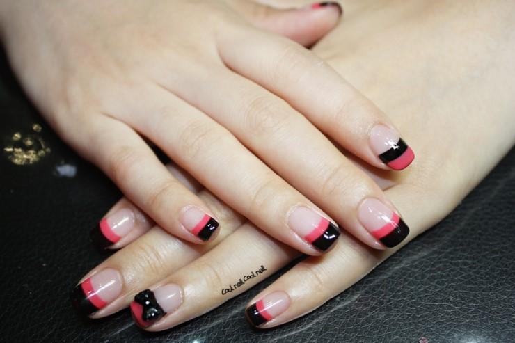 Pink And Black Two Tone Gel Nail Polish Ribbon Pats French Cool