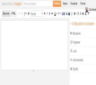 área do editor de postagens do novo visual