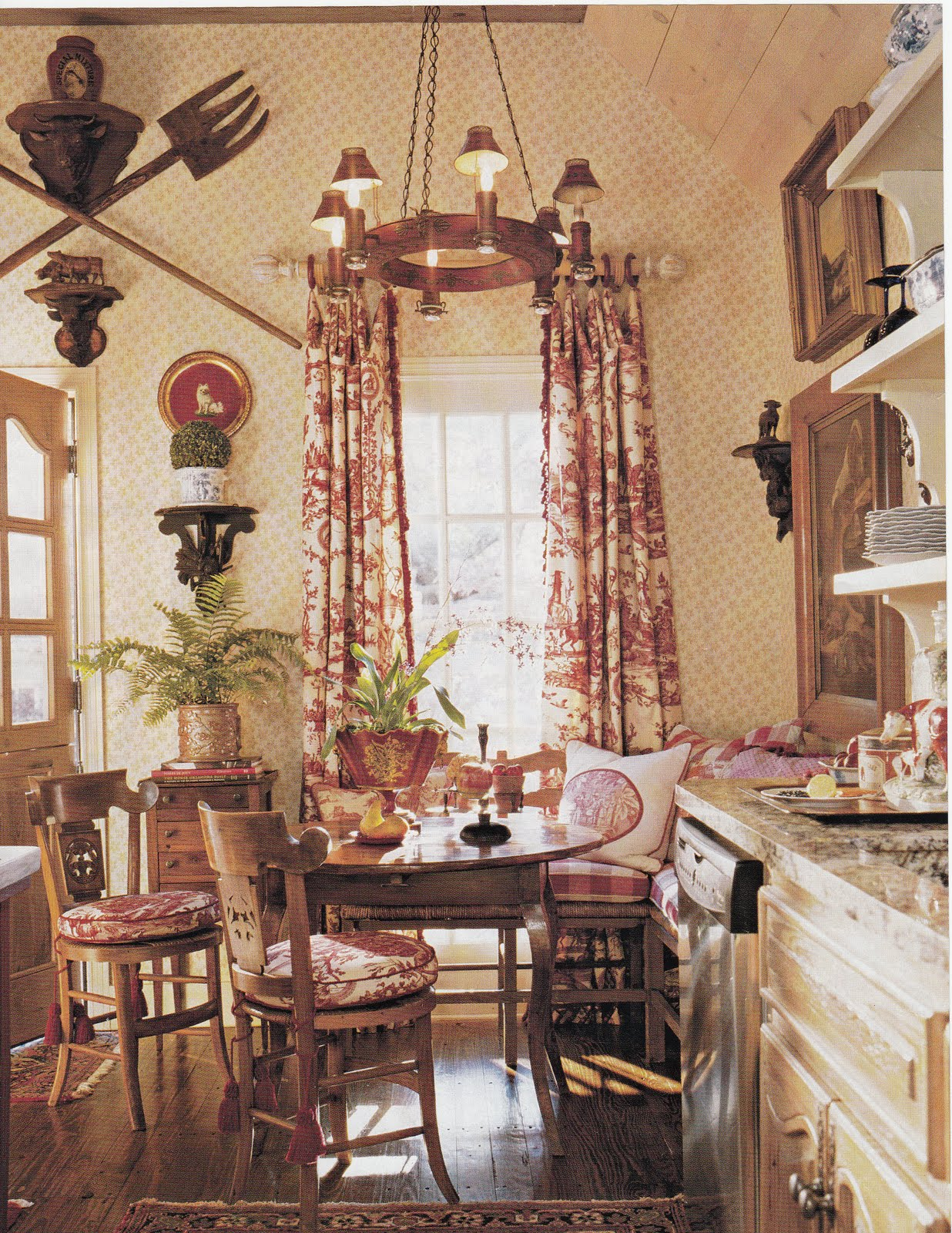 Hydrangea hill cottage red toile for Country decor