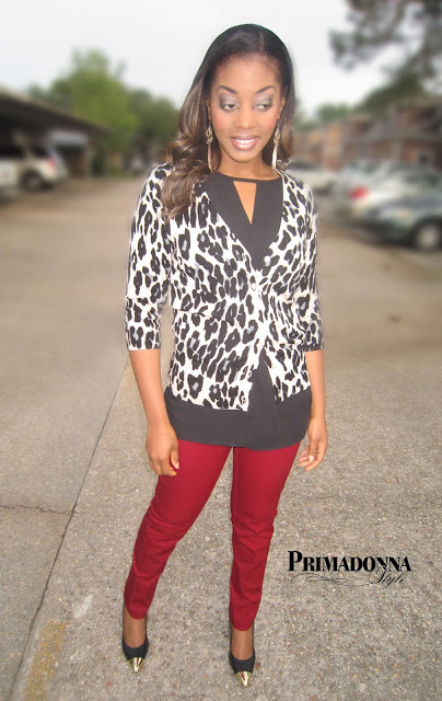 AB Studio Animal Cardigan  Forever 21 Open Paneled Tunic  Apt. 9 Skinny Ankle Pants  in Regal Red  Rampage Namure Heels