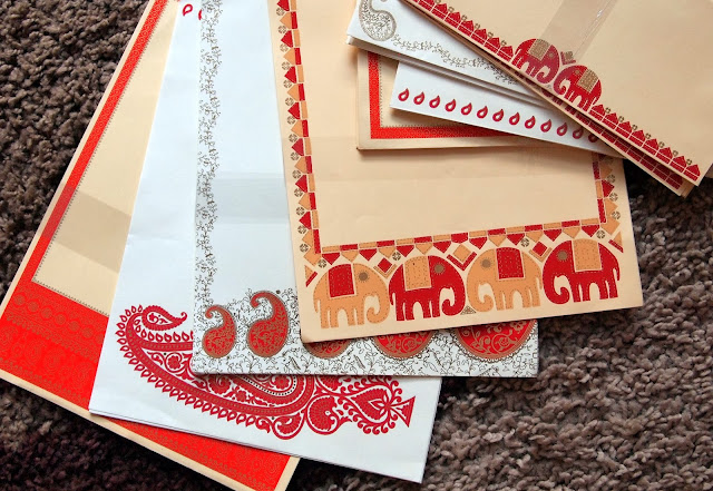 Hand printed writing paper from India