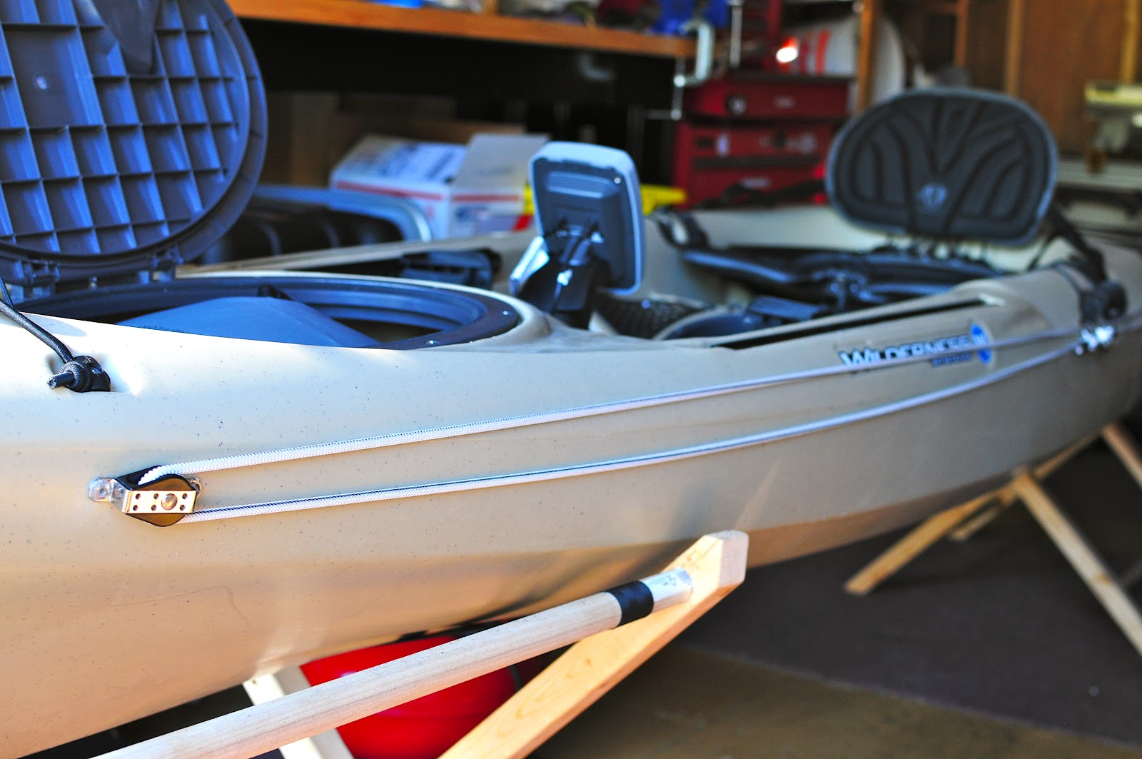how to put a anchor trolly on a kayak