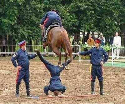smešna slika: ukrajinska policija sa konjima