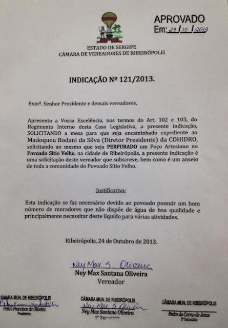Vereador MAX DE ZÉ DE TOINHO solicita a  perfuração de Poço Artesiano para o povoado Sítio Velho.