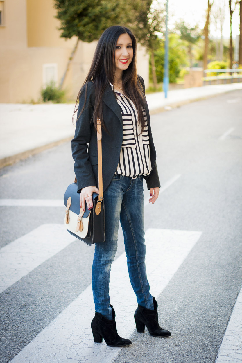 Look con rayas, street style, stripes