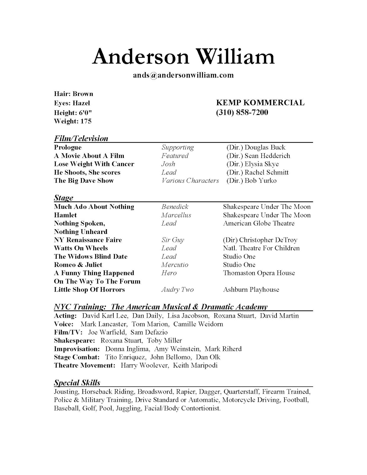 child actor sample resume also sag actor professional acting sample resume