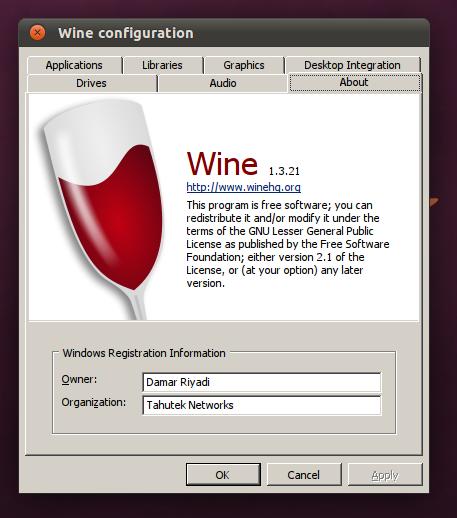 Wine 1.3.21 di Ubuntu 11.04 Natty Narwhal