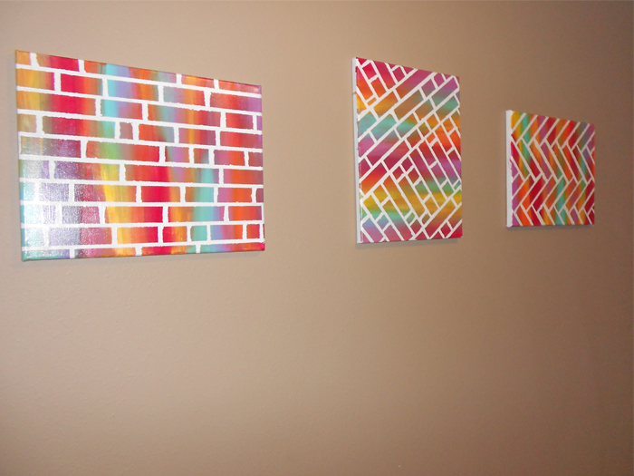 Easy DIY painted bricks canvas art