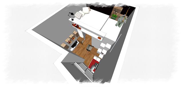 Studio avec mezzanine axo schéma projet Denitsa Hristova