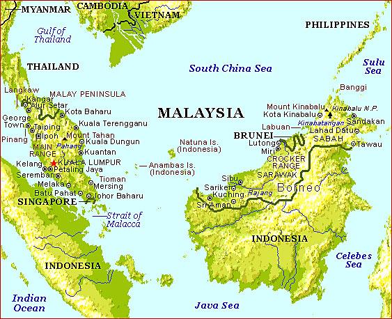 Peta Semenanjung Malaysia, Sabah & Sarawak