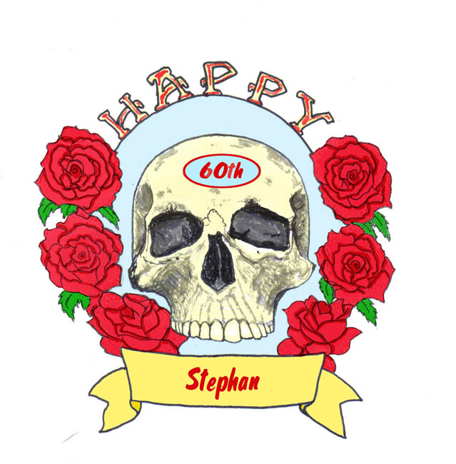 Sketches Art and Thoughts Skull and Roses birthday card and a