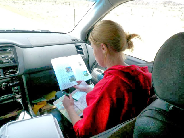 claire busy planning the route along the oregon trail