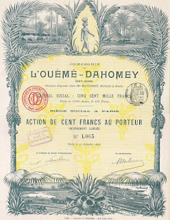 Ouéme-Dahomey share certificate designed by Tomasz