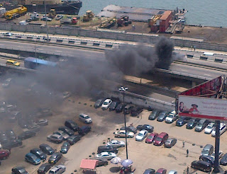 BREAKING NEWS PICTURES : Tanker On Fire On Marina Bridge