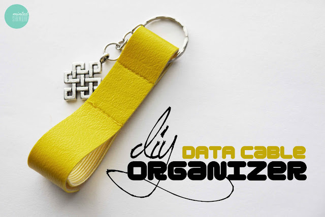 yellow leatherette data cable organiser with key ring