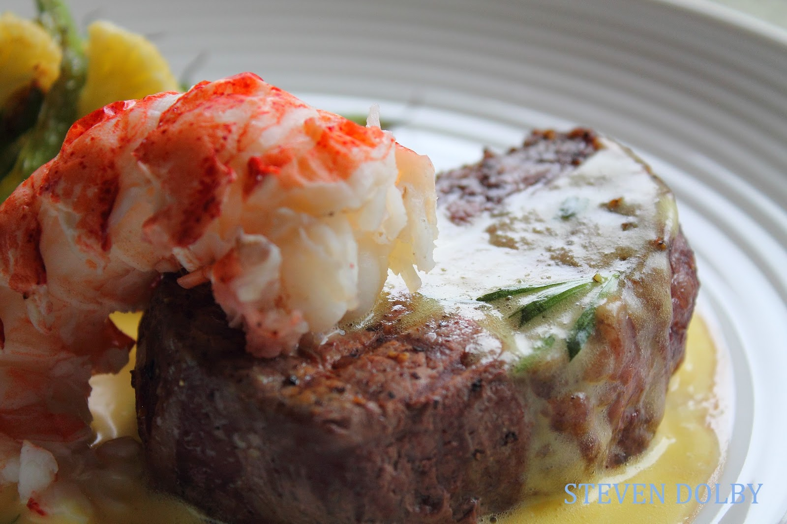 filet mignon and Lobster tail with Bearnaise sauce by Steven Dolby