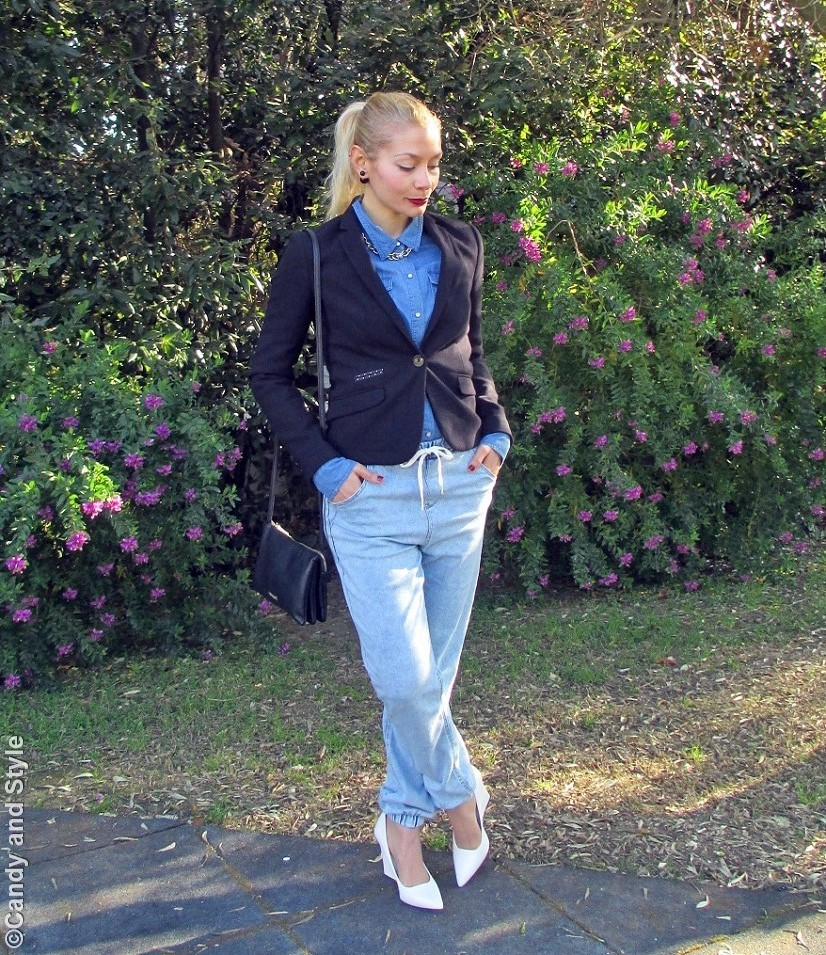BlackBlazer+DenimShirt+DenimJoggers+WhiteWedges+CrossbodyBag+BurgundyLips+HighPonytail - Lilli Candy and Style Fashion Blog