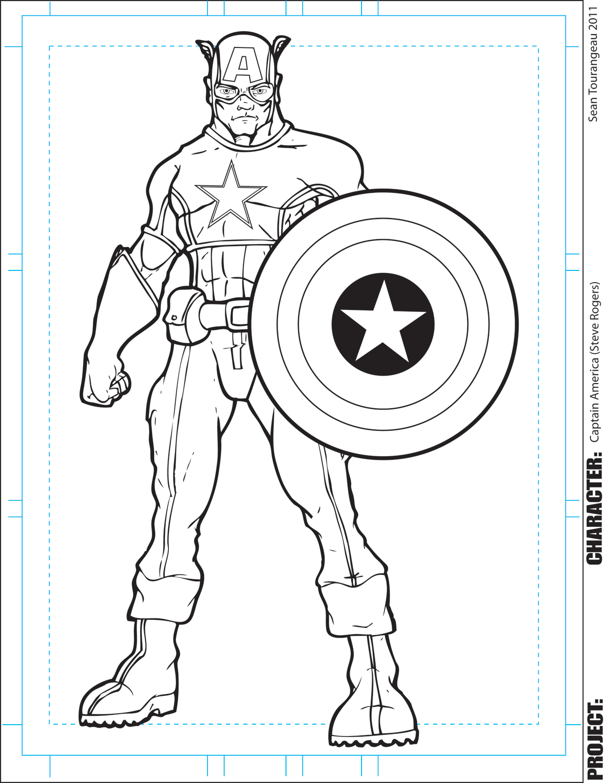 The Art Of Sean Tourangeau Captain America Inks Captain America Printable Coloring Pages